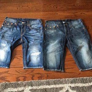 2 pairs of Men's True Religion shorts size 33 $50